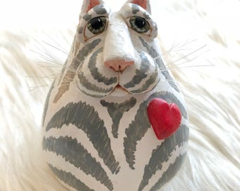 CAT FIGURINE gourd striped tabby Vicki Thomas Enesco grey white heart funnybone originals art figure knick knack kitsch hand painted signed