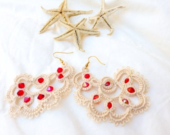 Red passion-home made cotton and beads to tatting earrings red passion