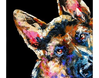 German Shepherd dog,more colours,dog art print,black,white,dk blue,palette knife oil print,fine art paper,wall print,home decor,wall art