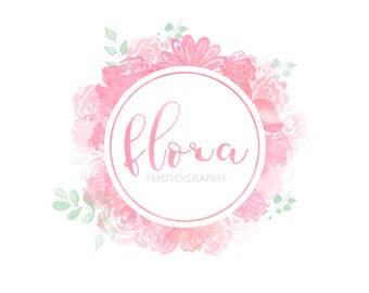 Premade Logo Design, Custom Logo Design, Watercolor logo, floral logo, stamp, Photography Logo, watermark, 002