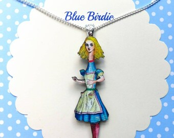 Tall Alice necklace Alice in wonderland jewelry growing Alice jewelry Alice necklace jewellery Alice in wonderland necklace gift big Alice