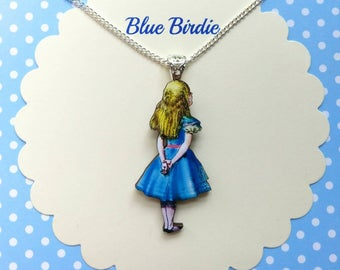 Alice meets Cheshire cat necklace Alice in wonderland gifts jewelry Alice jewelry Alice necklace jewellery Alice in wonderland necklace gift