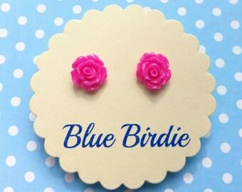 SALE! Rose earrings rose jewellery rose jewelry rose stud earrings hot pink rose earrings flower jewellery small rose earrings bridesmaid