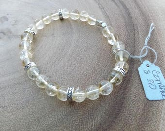 Citrine Beaded Bracelet with Silver accents