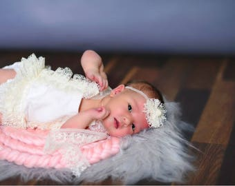 Romper and Tie Back Set,  baby girl, photo prop,  newborn prop, newborn romper, photography Props, Baby Photography Prop