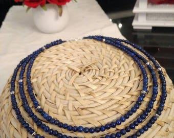 Triple lapis lazuli Bead Necklace