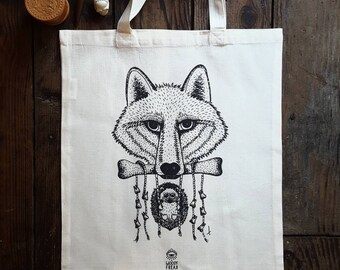 """Organic cotton eco-friendly inks, printed tote bag illustrated """"Cannibal Friends Forever"""", Wolf and Hedgehog, tattoo, 38 x 42, ecru"""