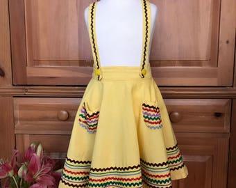 Vintage 1950's Western Style Suspender Skirt