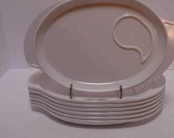 Boonton Melmac Set of 7 Winged Snack Set Plates, White