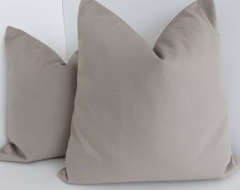 Beige Pillow Cover- Brushed Canvas Pillows- Solid Beige Pillow Cover- Beige Pillow- Soft Beige Pillow