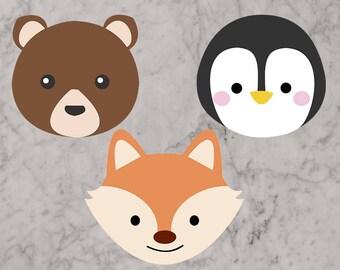 Animal heads Svg, Fox svg, Penguin svg, bear svg, Animals Cut files, dxf, eps & png files for cricut. Penguin, fox, bear clip art, scrapbook