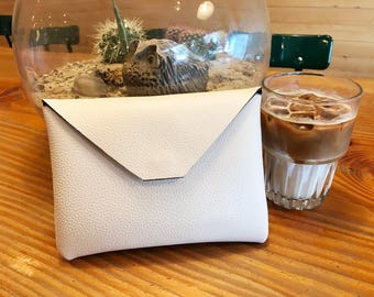 LEATHER ENVELOPE CLUTCH - Leather clutch, Evening clutch, Feminine clutch, Cosmetic pouch, Small clutch, Leather pouch - Ivory white
