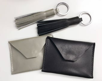 LEATHER COIN PURSE - Envelope card case, Leather card holder, Leather card wallet, Leather pouch, Leather purse (Black & Silver grey)