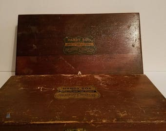 Antique Qty 2 Willson's Handy Box Gummed letters - one black one white