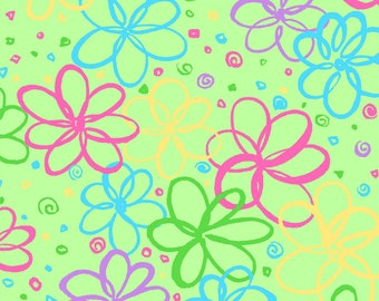 Bloom Doodle Flowers on Green Fat Quarter Cotton Fabric (UK)