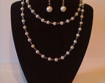 Simulated Pearls & Silver 2 Pc. Costume Jewelry Set