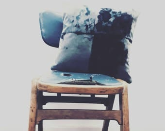 Hand dyed grey and black velvet cushion / pillow