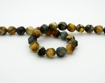 Blue Golden Tiger's Eye Tiger Eye Diamond Cut Faceted Rond Ball Sphere Natural Gemstone Beads 6mm 8mm 10mm