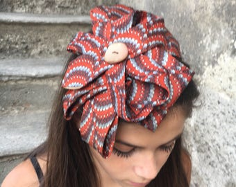 Gold and orange satin headband, made with ties and vintage material
