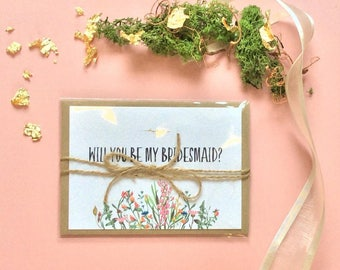will you be my bridesmaid card, bridesmaid postcard, wedding invitations, wedding invites,rustic a6 design