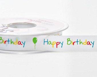 Multi Colour Happy Birthday Satin Ribbon 14mm x 2 Metres - Card Making Craft Sewing Ribbons