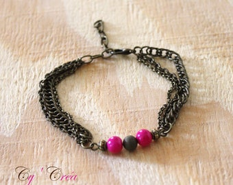 Triple chain with pink and bronze beads bar designer bracelet