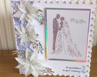 lovely wedding congratulations card with plenty of sparkle and pearls