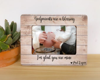 Personalized Godparents Christmas Frame Godmother Gift Goddaughter Godson Frame Godparents Thank You Gift Baptism Dedication Christening