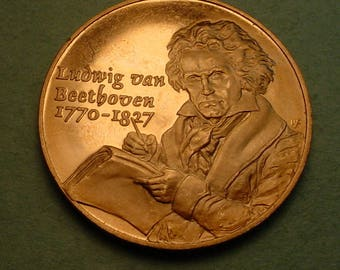 Beethoven Medal Bronze  39 MM Mint Condition <># ET6047