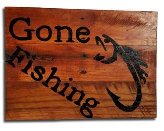 Gone Fishing Pallet Sign
