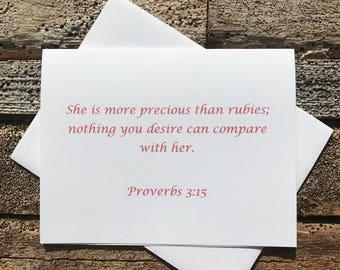 Proverbs 3:15 Bible Verse Note Card