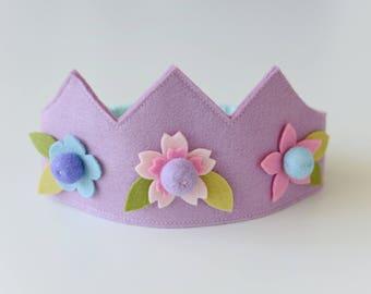 Wool felt crown, Flower crown, Birthday crown, Fairy crown, Girls crown