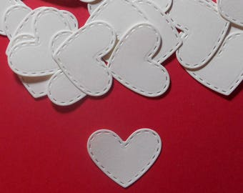 "50 Embossed Stitch Heart Die Cuts - 1 3/8"" x 1 1/8"" - White Cardstock Paper Hearts - Scrapbooking Embellishments - Card Making"