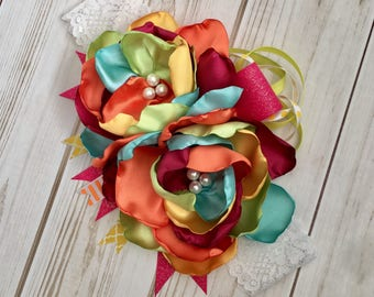 Multicolored girl headband- girl headband- flower pin