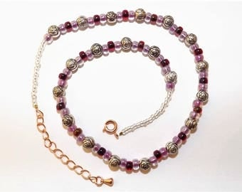 New Handmade Silver Rose and Pink Garnet Ruby Collar Choker Beaded Necklace