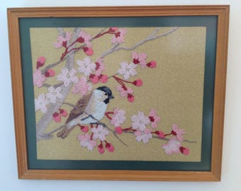 Vintage embroidered bird picture