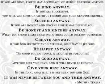 Do It Anyway svg, poem svg (SVG, PDF, Digital File Vector Graphic)