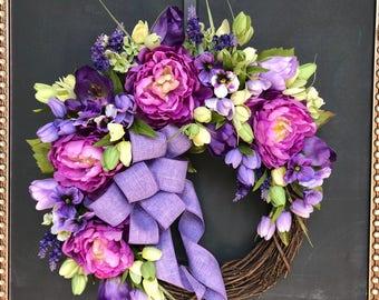 Spring Wreath/ EasterWreath/ Front Door Wreath/ Purple Wreath/ShabbyChic Wreath/Farmhouse Wreath/ Mothers Day Wreath/Grapevine Wreath