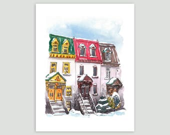 Colourful Montreal Triplexes in the Snow – Fine Art Print of Original Watercolour Painting