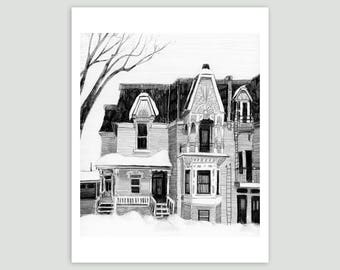 Montreal House in Winter – Fine Art Print of Original Pencil Drawing