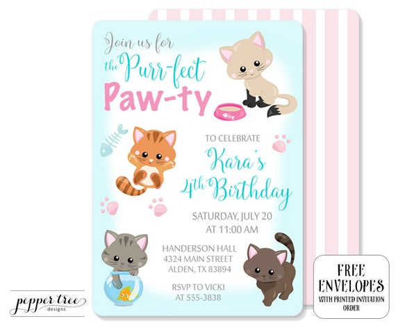 Girls cat birthday invitation in aqua and pink kitten birthday il570xn filmwisefo