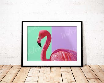Flamingo wall art Bird art print nursery poster Mint pink lilac Digital printable Instant Download