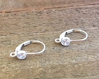 Sterling Silver Leverback Earrings, Cubic Zirconia, Earring Findings, 9mm x 16mm,  EWRS036
