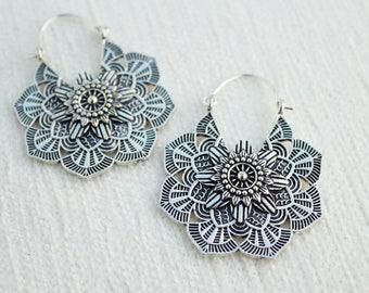 Tribal earrings flower earrings ethnic earrings gypsy tribal jewelry flower Mandala earrings gothic flower earrings jewelry gothic earrings