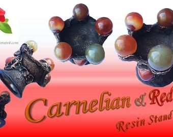Carnelian & Red Jasper Resin Stand