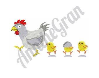 Chicken And Chicks - Machine Embroidery Design
