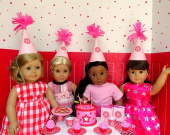 American Girl Party Hats Birthday Supplies for 18 Inch Dolls, Doll Hats, American Girl Party Supplies Doll Accessories, Mini Hats (set of 4)