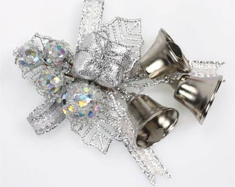 Silver Holly and Bells Christmas Cake Topper Decorations