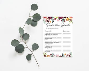 Find the Guest Game - Bridal Shower Games - Printable Instant Download - Floral Design - Fun Activities - Bachelorette