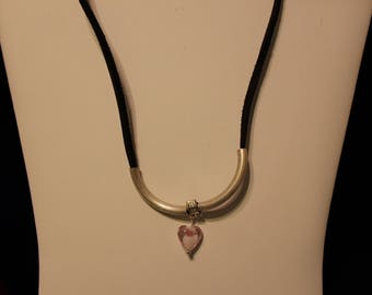 Brown leather, silver tubes, heart shaped charm